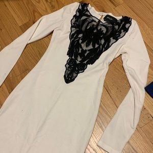 Cream & Black Lace Dress